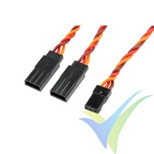 Cable Y 15cm trenzado para servo JR/Hitec, 0.33mm2 (22AWG) 60 venillas, G-Force