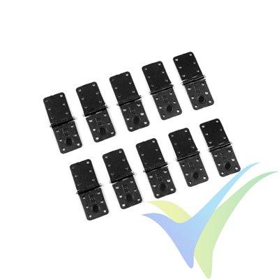 Bisagra de nylon pequeña con eje de acero - 11x28mm - 10 uds