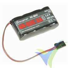 Batería receptor Ni-MH 600mAh, 4.8V, Graupner 4N-600 2/3 AA, 60g