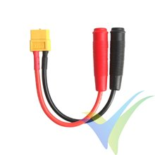 Power supply cable for charger, XT60 female to Ø4.0mm banana female
