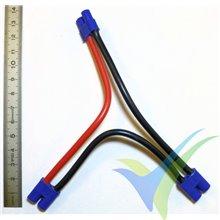 Adaptador de conector EC3 hembra a dos EC3 macho en serie, cable silicona 3.31mm2 (12AWG) 12cm, G-Force