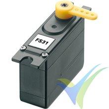 Servo analógico Robbe FS 31 (Dymond D47), 4.7g, 1.12Kg.cm, 0.18s/60º, 4.8V-7.4V
