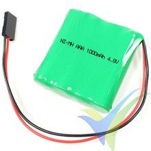 Batería receptor Ni-MH 1000mAh, 4.8V, plana AAA, 50g
