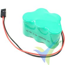 Batería receptor Ni-MH 1600mAh, 6V, formato pirámide, 115g