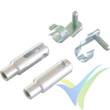 Kwik link aluminio reforzado M4, pasador 3mm, con clip seguridad, 2 uds