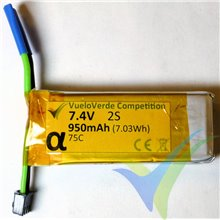 Batería LiPo VueloVerde Competition serie Alfa 950mAh (7.03Wh) 2S1P 75C, para F5J 50g