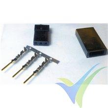 Conector servo hembra compatible JR, metalizado oro, 1 ud