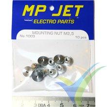 Tuerca aluminio autoempotrable M2.5 larga, MP-Jet 1003, 10 uds