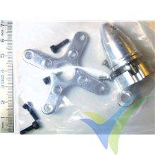 Cruceta fijación trasera + portahélices, para motor EMP 42xxx, aluminio pulido