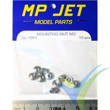 Aluminium mounting nut M2 long, MP-Jet 1001, 10 pcs