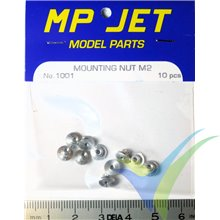 Tuerca aluminio autoempotrable M2 larga, MP-Jet 1001, 10 uds