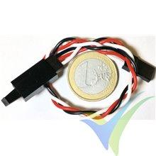 Prolongador trenzado cable de servo universal con clip seguridad, 15cm, 0.33mm2 (22AWG)