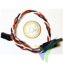 Prolongador trenzado cable de servo universal con clip seguridad, 20cm, 4.7g, 0.33mm2 (22AWG)