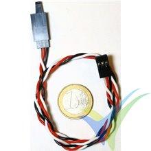 Prolongador trenzado cable de servo universal con clip seguridad, 30cm, 0.33mm2 (22AWG)