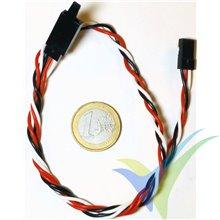 Prolongador trenzado cable de servo universal con clip seguridad, 40cm, 7.7g, 0.33mm2 (22AWG)