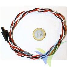 Prolongador trenzado cable de servo universal con clip seguridad, 60cm, 0.33mm2 (22AWG)