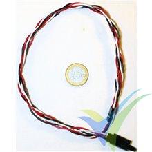 Prolongador trenzado cable de servo universal con clip seguridad, 70cm, 0.33mm2 (22AWG)