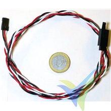Prolongador trenzado cable de servo universal con clip seguridad, 80cm, 0.33mm2 (22AWG)