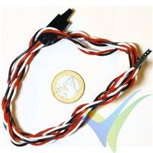 Prolongador trenzado cable de servo universal con clip seguridad, 100cm, 16.5g, 0.33mm2 (22AWG)