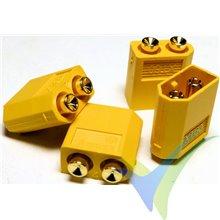 Conector XT60PB G-Force, metalizado oro, macho para soldar a circuito impreso, 4.2g, 4 uds