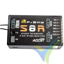 Receptor FrSky S8R EU 2.4GHz, 8 canales, giróscopo 3 ejes, 14g