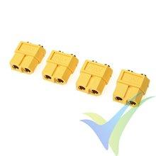 Conector XT60PB G-Force, metalizado oro, hembra para soldar a circuito impreso, 4 uds