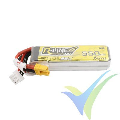 Tattu R-Line - Gens ace LiPo battery 550mAh (4.07Wh) 2S1P 95C 30g XT30
