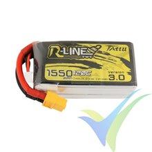 Batería LiPo Tattu R-Line V3.0 - Gens ace 1550mAh (22.94Wh) 4S1P 120C 176g XT60