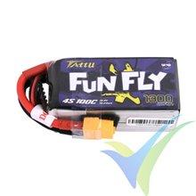 Batería LiPo Tattu Funfly - Gens ace 1300mAh (19.24Wh) 4S1P 100C 149g XT60