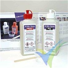 Adhesivo epoxi 30min R&G, kit 200g + espátula + vaso de mezcla