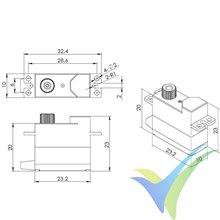 Servo digital Blue Bird BMS-125WV, 11.3g, 5.5Kg.cm, 0.1s/60º, 3.7V-7.4V