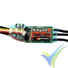 Variador brushless Xpower XREG20 V5, 20A, 2S-4S, BEC 2.5A, 13g