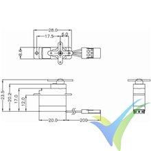 Servo analógico Hitec HS-40, 4.8g, 0.75Kg.cm, 0.1s/60º, 4.8V-6V