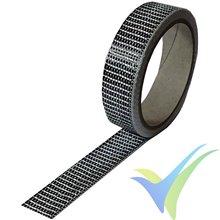 Cinta fibra carbono 25mm unidireccional 125 g/m², 3k, rollo 10m