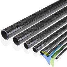 Tubo redondo de carbono enrollado Ø20 x 16 x 1000mm, tejido liso 3k, 175g