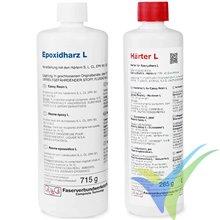 Kit 1Kg resina epoxi L 715g + 285g endurecedor L, 40min