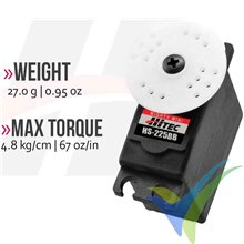 Servo analógico Hitec HS-225BB, 27g, 4.8Kg.cm, 0.11s/60º, 4.8V-6V