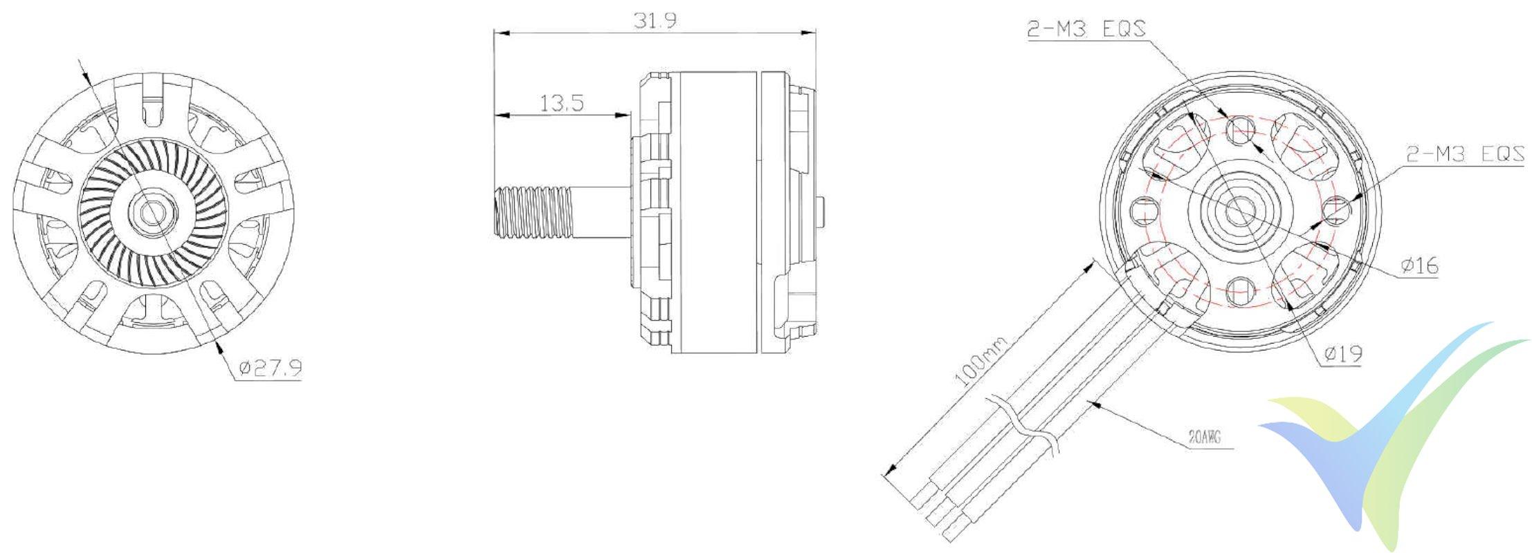 Dimensiones del motor GEMFAN Racing GT2206R