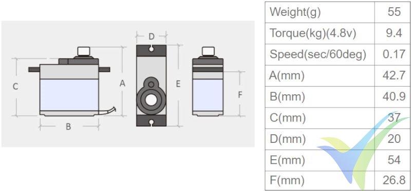 Dimensiones del servo TowerPro MG996R